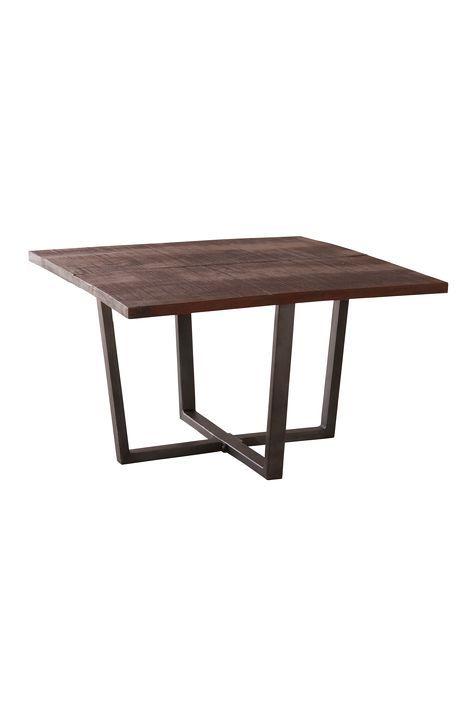 Inred vardagsrummet med ett rustikt soffbord. Passar lika bra i den lantliga som industriella stilen. Material: Metall och trä. Storlek: Höjd 45 cm, bordsskiva 76x76 cm. Beskrivning: Fyrkantigt soffbord med underrede i pulverlackad metall och bordsskiva i massivt trä. Skötselråd: Torkas med fuktig trasa. Tips/råd: Inred med SVEG matbord för att få in den industriella stilen även till köket.
