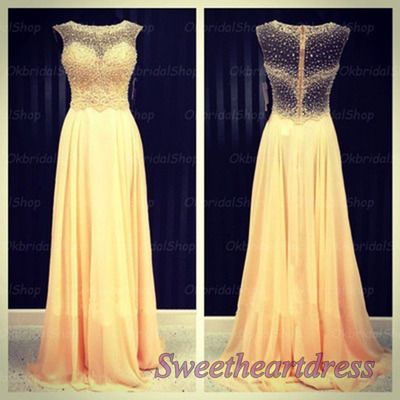 Yellow chiffon prom dress, junior prom dress 2016 sweetheartdress.s... #coniefox #2016prom