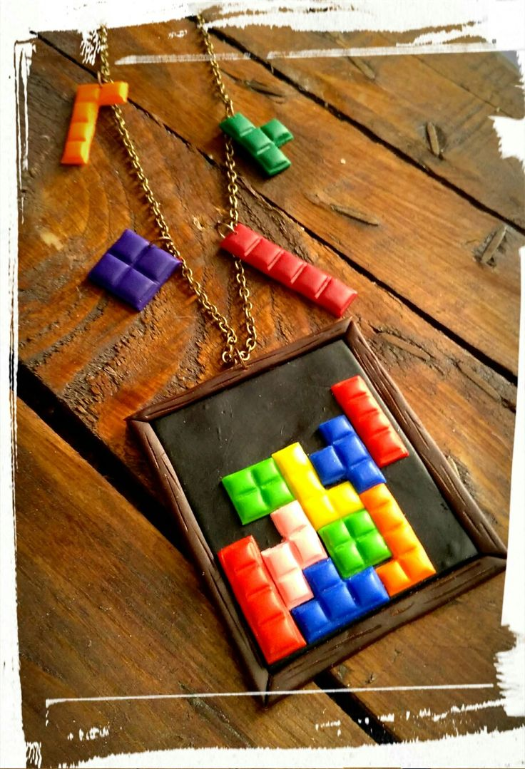 """Long necklace """"Tetris"""" out of polymer clay"""