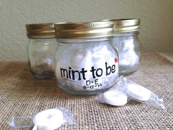 Wedding Favors-8 Jars-Mint to be-Hand Painted- Bridal Shower favors-Half pint jars- Personalized initials and date-Mints not included-8 Jars, $24.00