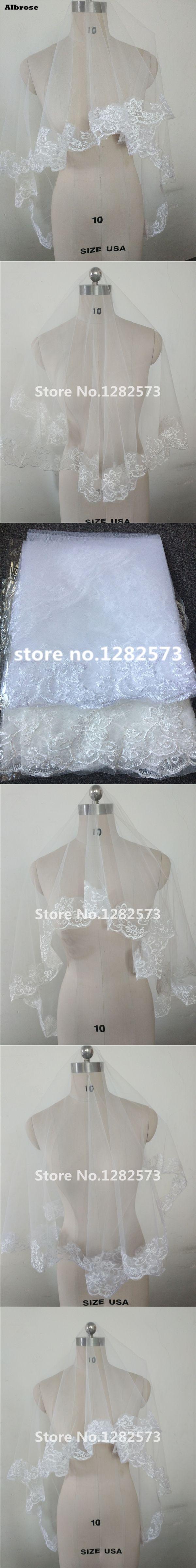 Cheap Lace Edge Short Wedding Veil White Ivory Bridal Veil voile mariage Wedding Veils Made in China High Quality velos de novia