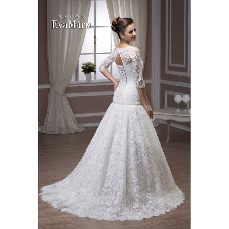 Svadobné krajkované šaty s vlečkou Virginia