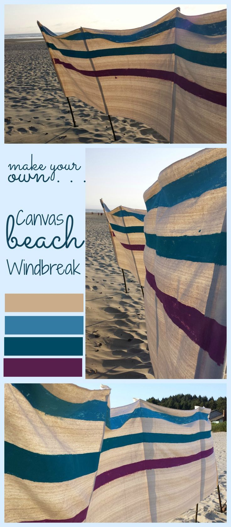 Make your own canvas beach windbreak with a few for Build your own canvas tent