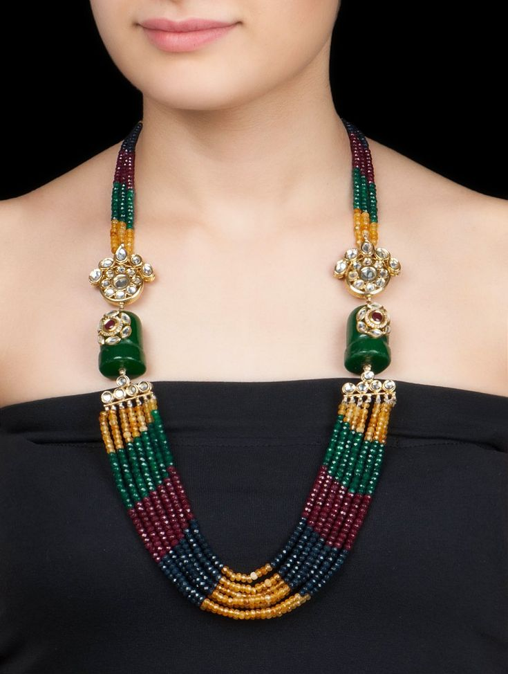 Buy Multicolor Ethno Necklace by Anjali Jain Metal Alloy Semi Precious Stone Jewelry Fashion Verses of Tradition Encrusted Kundan with Etchings Online at Jaypore.com