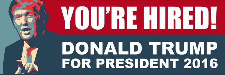 Donald trump 2016 trump for president your hired 8 x 2 8 bumper sticker political