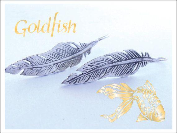 Sterling Silver Feather Earrings long by GolfishJDS on Etsy, $35.00