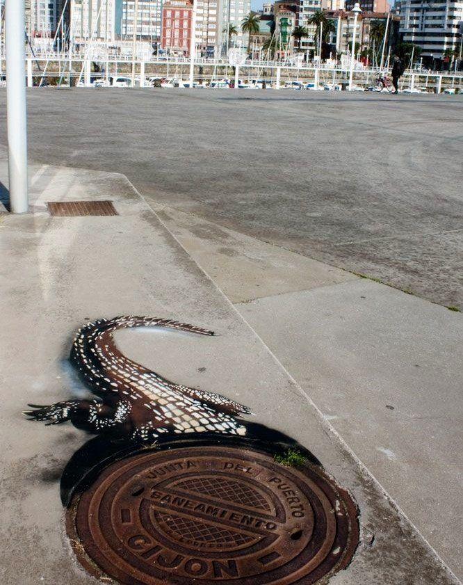 Alligator i stadens kloaker.