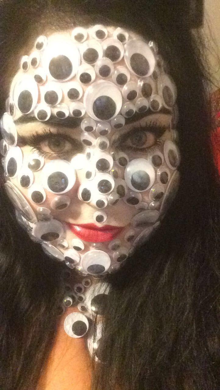 Creepy Googly Eye Face Makeup For Halloween Face Makeup