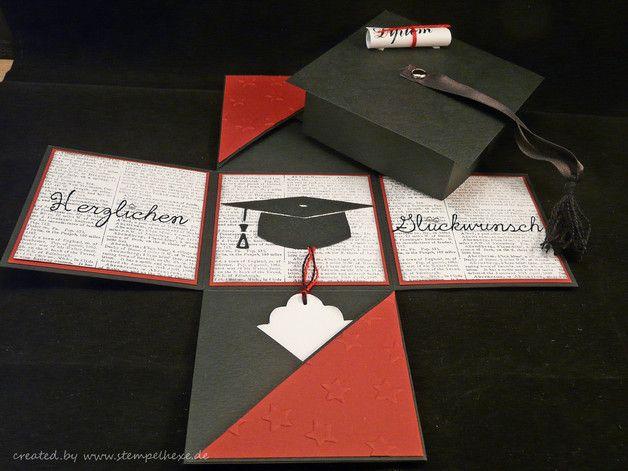 Weiteres - Box zum Diplom, Bachelor, Doktorhut, Geschenk - ein Designerstück von sandra-stempelhexe bei DaWanda