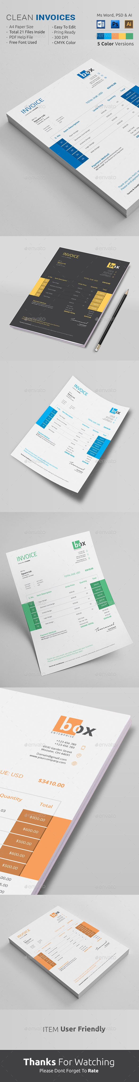 Clean Invoice Template PSD, AI #design Download: http://graphicriver.net/item/clean-invoice/13678789?ref=ksioks