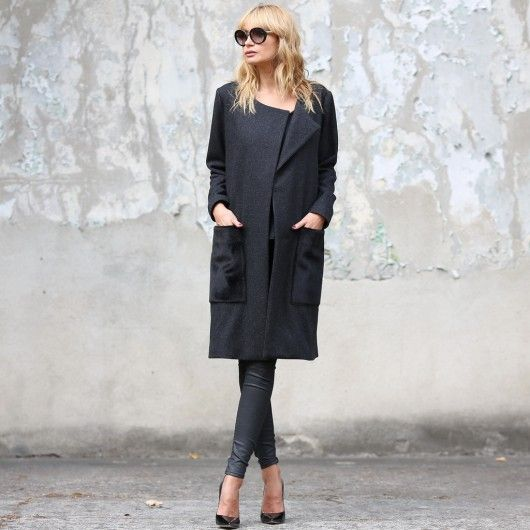 klasyczny płaszcz oversize wełna + pasek