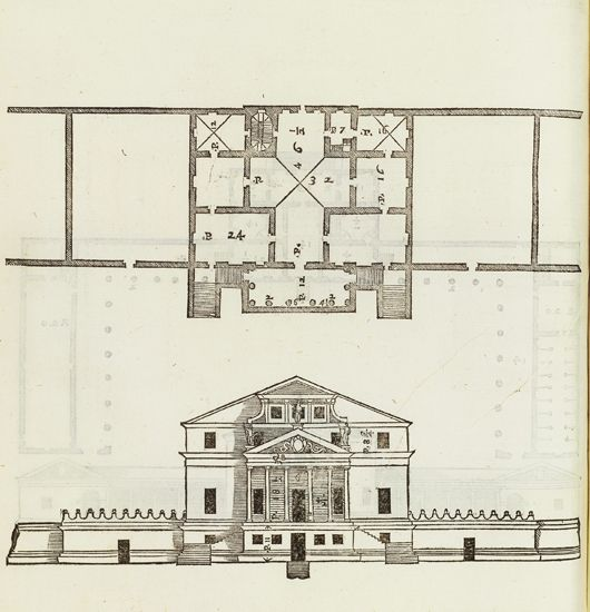 The floor plan and front elevation from villa foscari la for Palladian house plans