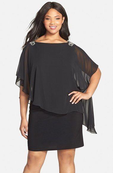 Plus Size Women's Xscape Embellished Chiffon Overlay Jersey Dress