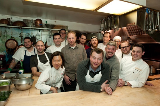 Cochon 555 kick-off participants, including Matt Jennings, Gavin Kaysen, Jamie Bissonnette, Andy Ricker, David Varley, and Michael Sullivan - January 20 (Photo by Tom Kirkman)    Another ICE student volunteer (Alice Lee)  in the Beard House kitchen!