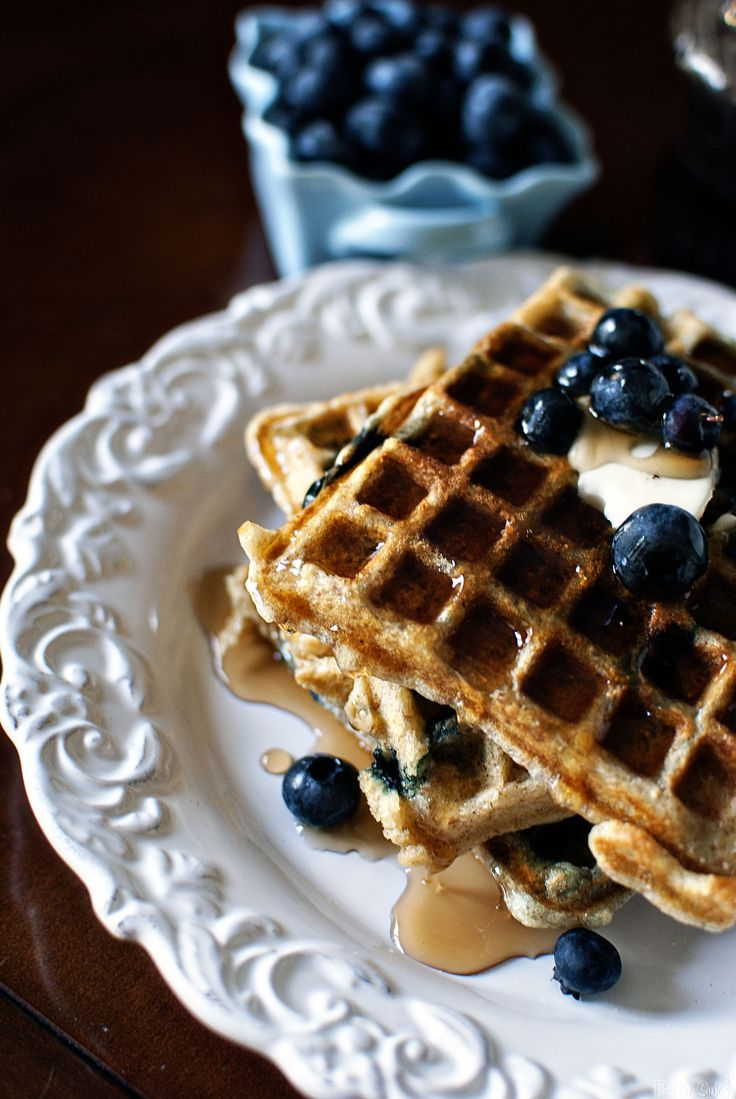 Blueberry Sour Cream Waffles | Cream, Blueberries and Waffles