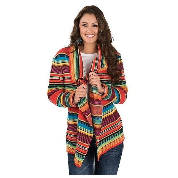 Rock Roll Cowgirl Women's Serape Sweater/Cardigan ($49) ❤ liked on Polyvore featuring tops, cardigans, multi color tops, collar top, long sleeve open front cardigan, multi colored cardigan and colorful tops