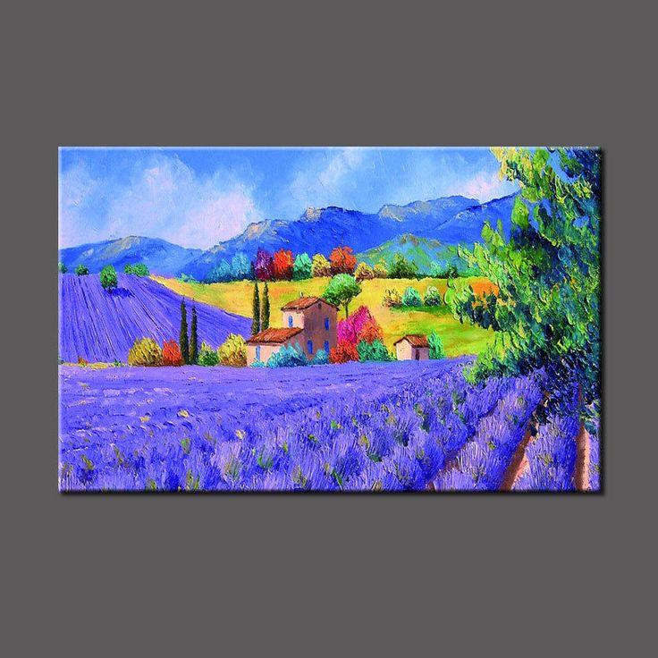 огромный Modern вручную художественная маслом настенный декор холст, лаванду (без рамки) in Искусство, Предметы искусства от авторов, Картины | eBay