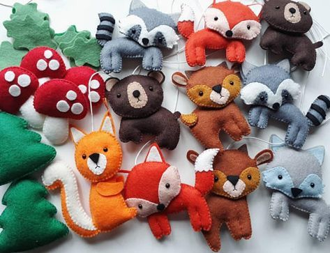 Hello dear buyers! Welcome to my miracle world where all your felt dreams will come true! This listing is for Woodland animals felt ornamnents. Price is given per piece. Please choose characters from the dropping menu. Toys are totally hand made: hand cut and hand sewn of high
