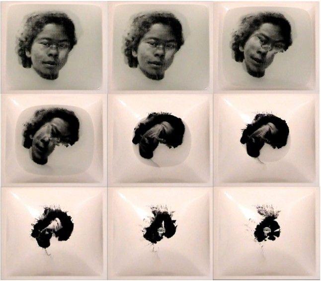 Oscar Muñoz, Biografias, Nina (2002, 9 chromogenic prints : 50 x 50 cm each).  Oscar Muñoz « Mor · Charpentier Galerie