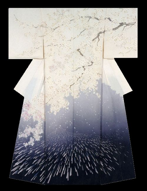 """Spring Haze"". Kimono created by Megumi Sakurai. Fine work. 33rd Annual Meeting of the Japanese textile artist Exhibition award work. Japan"