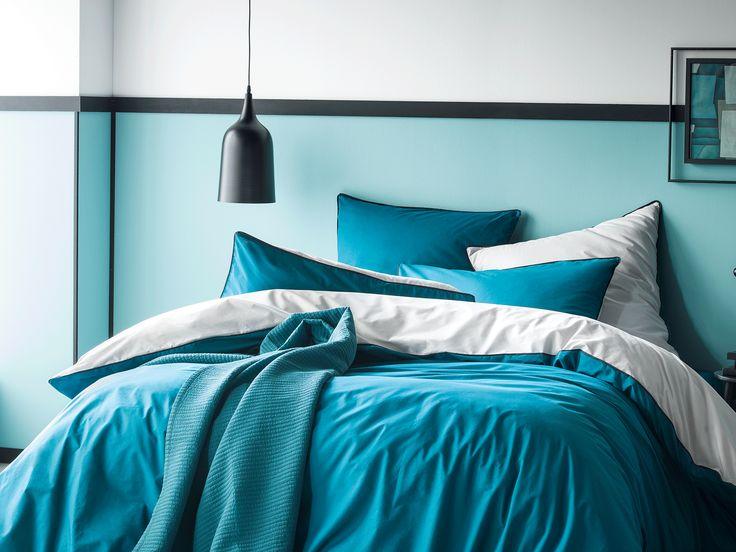 17 best images about linge de lit bicolore on pinterest the internet indigo and taupe. Black Bedroom Furniture Sets. Home Design Ideas