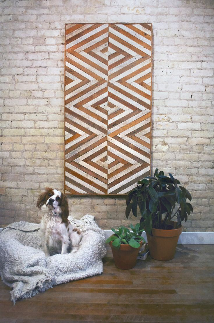 This wall piece is 60 by 30 and 1.5 deep. It can be hung from any side that you please. One of a kind design made with reclaimed wood. The wood lath used for this piece was once part of a plaster wall so one side is stained naturally by the age of the wood and the other absorbed
