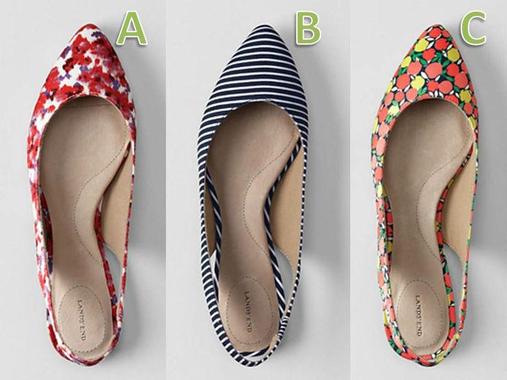 These new pretty slingback #shoes are screaming for 'summer' in fabulous prints and stripes; would you opt for the colourful floral, stripe or fruit?   Tell us by commenting on this pin with A, B or C…