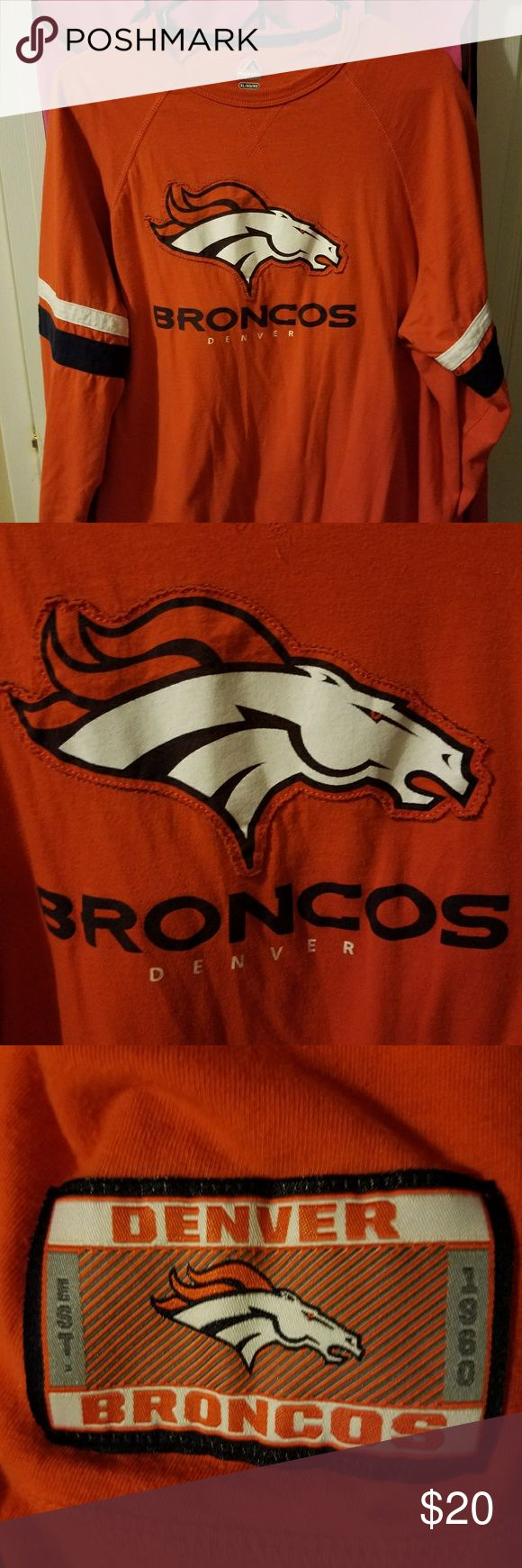 Men's Denver Broncos t-shirt size XL Men's orange Denver Broncos long sleeve t-shirt size XL. Worn once. Out with Peyton Manning and out with the Broncos. So this very nice expensive shirt can now be a true Broncos fans shirt. EUC. Pet free smoke free home. Majestic Shirts Tees - Long Sleeve