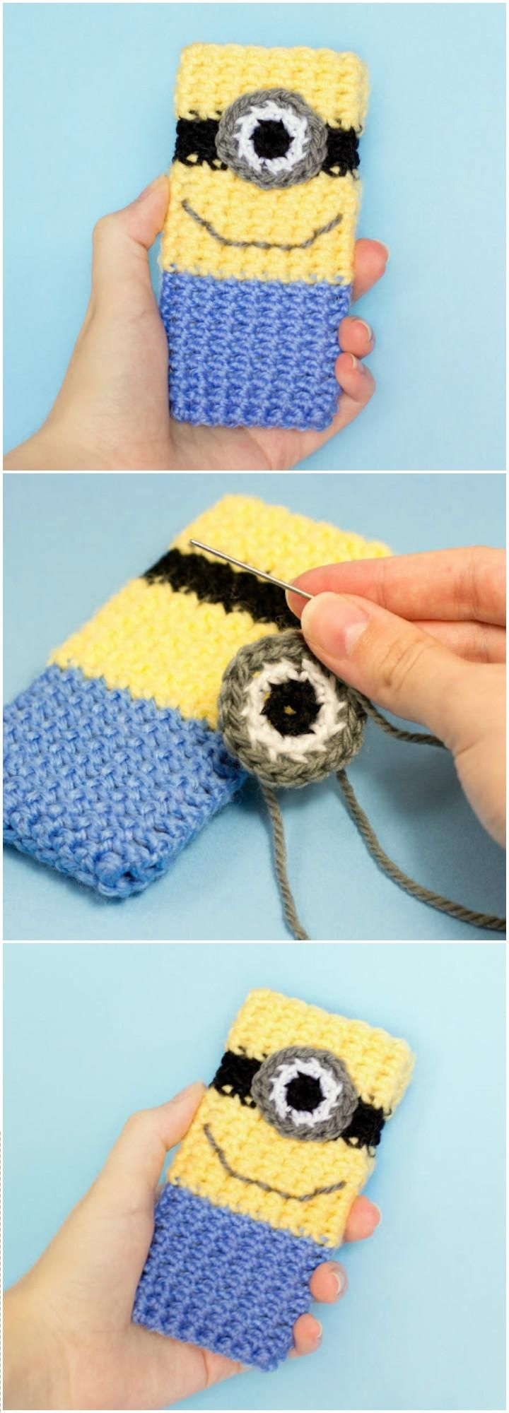 Minion Inspired Crochet Phone Case - 50 Free Crochet Phone Case Patterns - DIY & Crafts