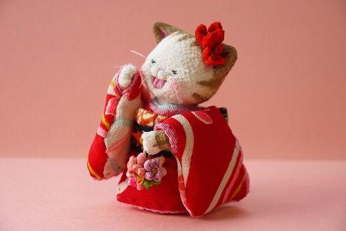 「 着物ねこ 4 」 - ちりめん猫のハンドメイド日和