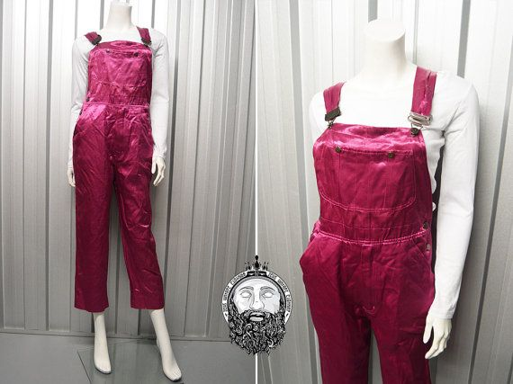 Vintage 80s Metallic Pink Womens Dungarees Miss by ZeusVintage