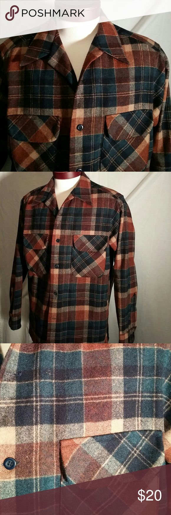Vintage Pendleton plaid shirt Very cool, very nice shape vintage men's Pendleton blue and brown plaid shirt. Hundred percent wool but still hand washable. Someone at some point sewed in in side pockets in the shirt. You can see on the outside the stitching but not much it Blends in nicely. Pendleton Shirts
