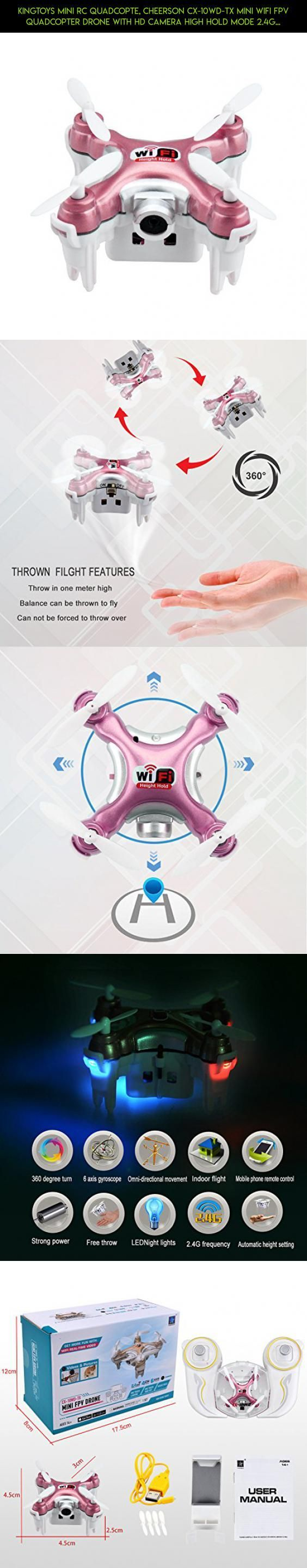 Kingtoys Mini RC Quadcopte, Cheerson CX-10WD-TX Mini Wifi FPV Quadcopter Drone With HD Camera High Hold Mode 2.4G 6-axis Remote Control Nano Quadcopter RTF Mode Switch(Blue) #camera #gadgets #drone #cheerson #products #tech #parts #racing #plans #phantom #kit #shopping #technology #fpv