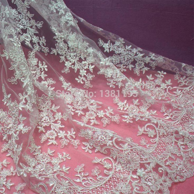 2015 High end elegant vakmanschap tulle mesh geborduurde heldere witte bruiloft kant 60 dollar