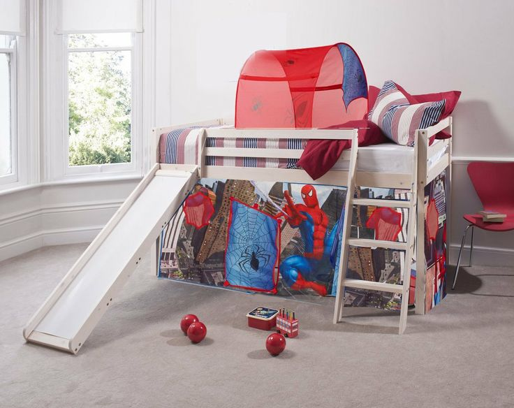 Spiderman Cabin Bed u0026 Slide W/Mattress with Tent + Mattress in WHITEWASH 6970WW- & 55 best Home again! Dominicu0027s Bedroom! images on Pinterest | Boy ...