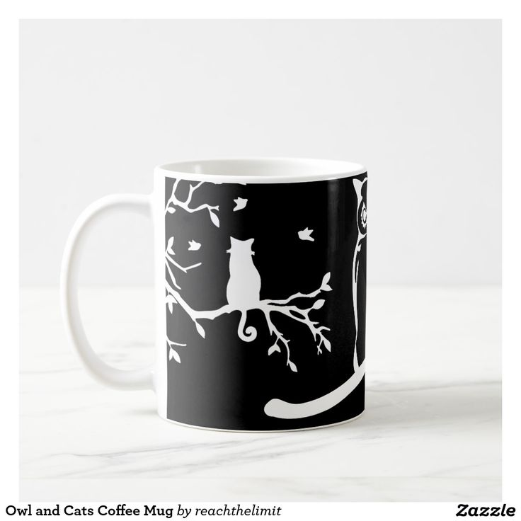 Owl and Cats Coffee Mug