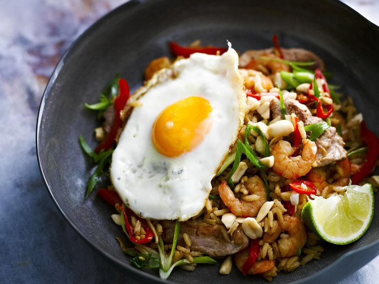 Nasi goreng literally means fried rice, and what you see is what you get. With an egg on top.