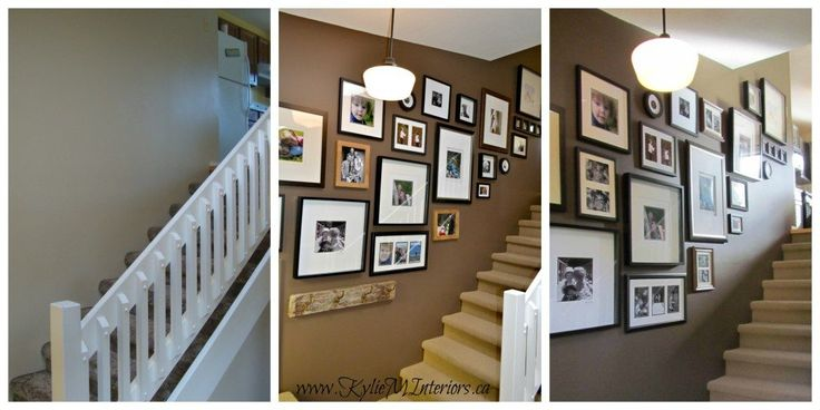 how to make a photo gallery or artwork display going up stairs or a stairway, photos and ideas