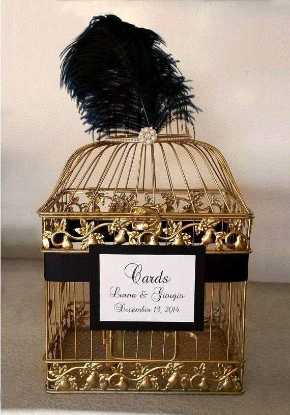 Great Gatsby Wedding Card Holder Gold Bird by meghanstonedesigns