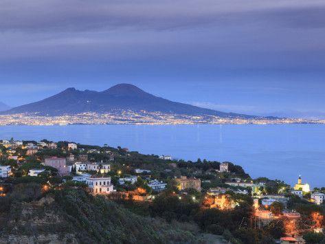 Italy, Naples, View of Naples, Posillipo Town and Mt. Vesuvius ...