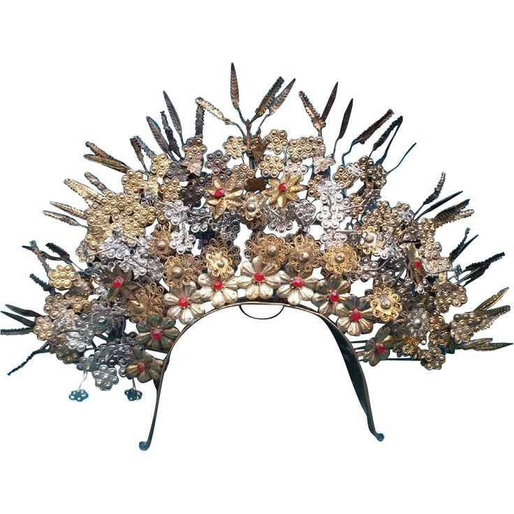 Vintage Indonesia Sumatra Wedding Crown Tiara Headpiece...