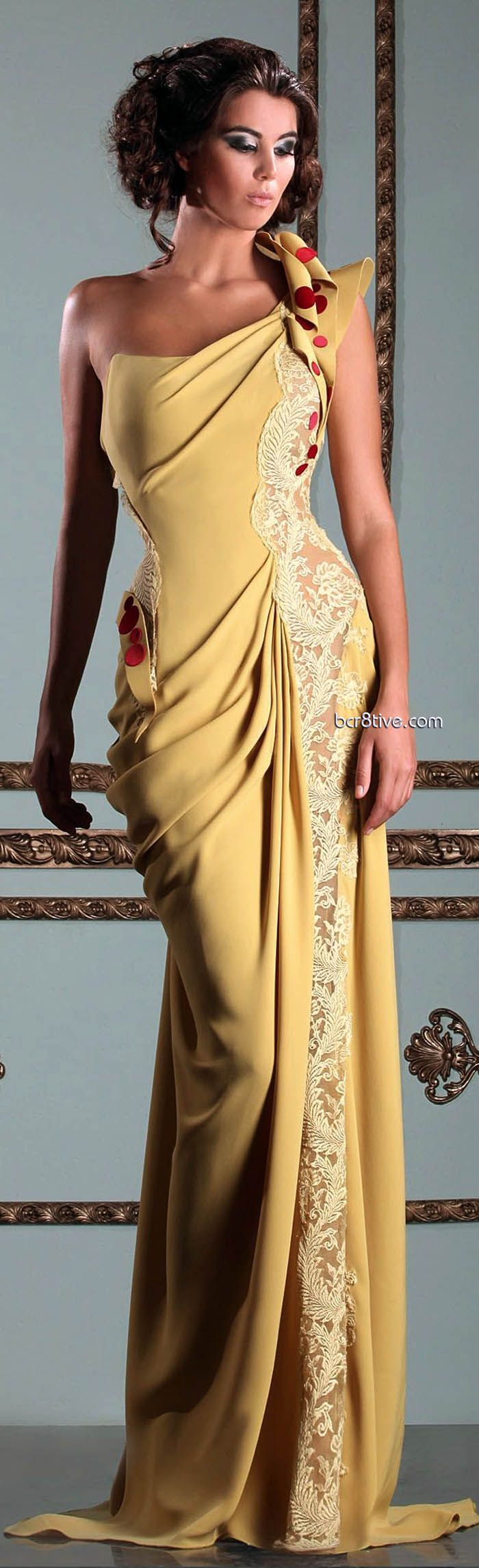 Evening gown, couture, evening dresses, formal and elegant Mireille Dagher Spring Summer 2013 Ready to Wear