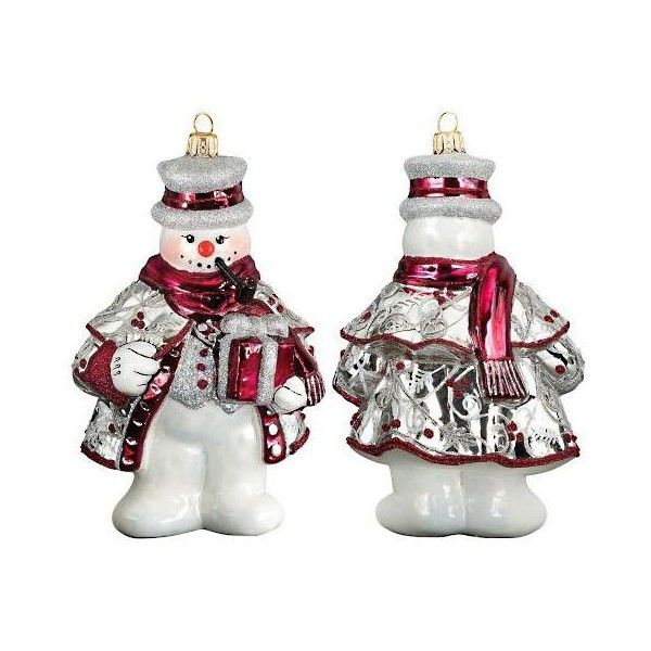 Tatra Snowman Ornament ($65) ❤ liked on Polyvore featuring home, home decor, holiday decorations, snowman home decor, snowman ornaments, european home decor, black home decor and old world home decor