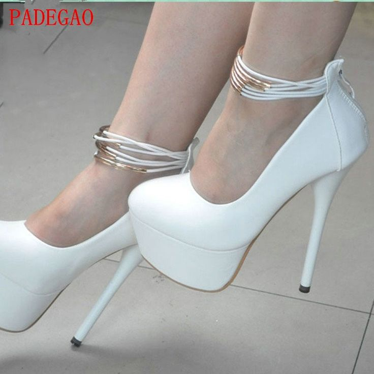 53.94$  Buy here - PADEGAO 2017 High Heels 14.5 cm Waterproof women shoes Normal Size Party Wedding  Shoes  Ankle Strap Plus Size round toe pumps  #aliexpress