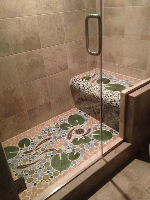 The Finished Trout Stream Ceramic Tile Mosaic Shower Floor Installation With A Waterfall Bench Seat