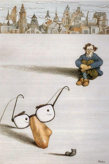 caricatura di Woody Allen (su Pinzellades al món: Literatura i art: caricatures d'escriptors de Tullio Pericoli)