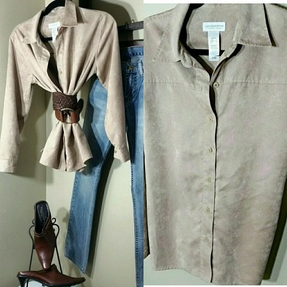 FAUX SUEDE CAMEL SHIRT by Liz Claiborne  Size S Perfect Shirt that can go with anything . Liz Claiborne Tops Button Down Shirts