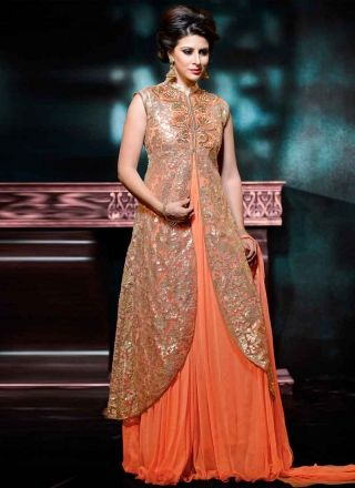 Marvelous Orange Embroidery Sequin Work Net Chiffon Evening Gown
