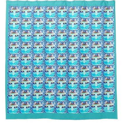 LITTLE CAT BLUES SHOWER CURTAIN - home gifts ideas decor special unique custom individual customized individualized