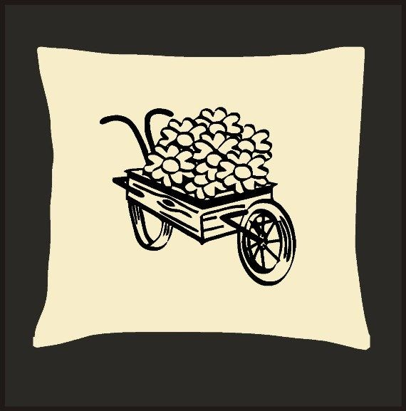Vintage Flower Wagon Scatter Cushion Cover by Pokkki on Etsy,